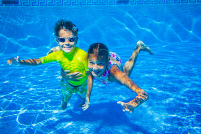 This is a picture of kids in a swimming pool in Amarillo, Texas.