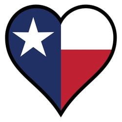 This is a picture of a heart with the Texas flag inside of it.
